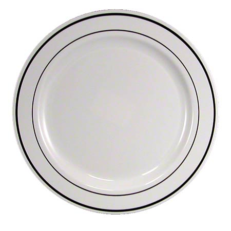 "7IMP144S 7"" WHITE PLATE W/SILVER RINGS 144/CASE"