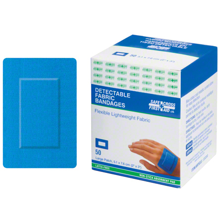 03200 FABRIC DETECTABLE BANDAGES, LARGE PATCH 5.1cm X 7.6cm LIGHTWEIGHT 50/BOX