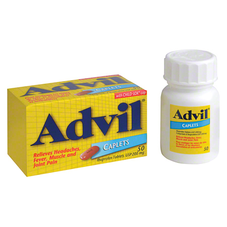 09217 FIRST AID ADVIL IBUPROFEN CAPLETS 200MG 50/BOTTLE