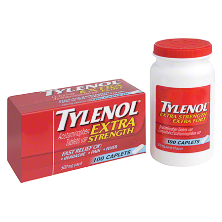 09466 TYLENOL ACETAMINOPHEN CAPLETS, EX. STRENGTH 100/BOTTLE