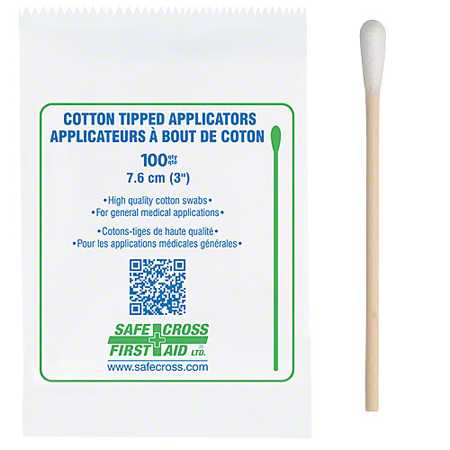 20139 COTTON TIPPED APPLICATORS, 7.6CM, SINGLE-END, 100/PACKAGE
