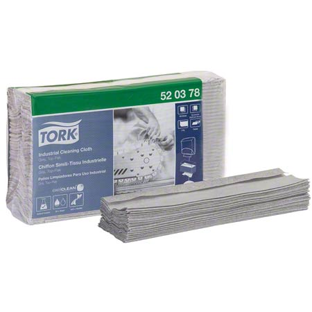520678 TORK 1PLY INDUSTRIAL CLEANING CLOTH, TOP-PAK, GREY 5 X 120/CS