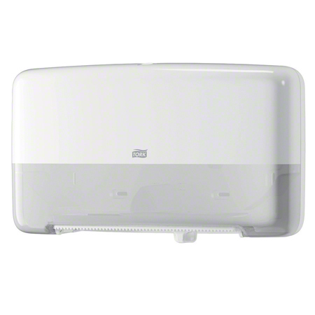 5555200 TORK MINI TWIN TOILET TISSUE DISPENSER - WHITE