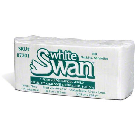 07201 WHITE SWAN 1 PLY BEVERAGE NAPKIN 8 X 500/CS