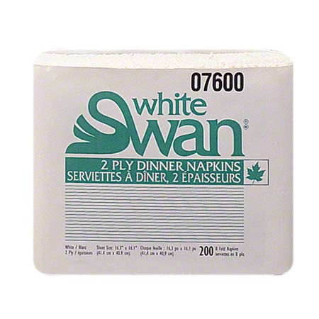 07600 NAPKIN DINNER WHITE SWAN 1/8 FOLD 2 PLY 2400/CASE