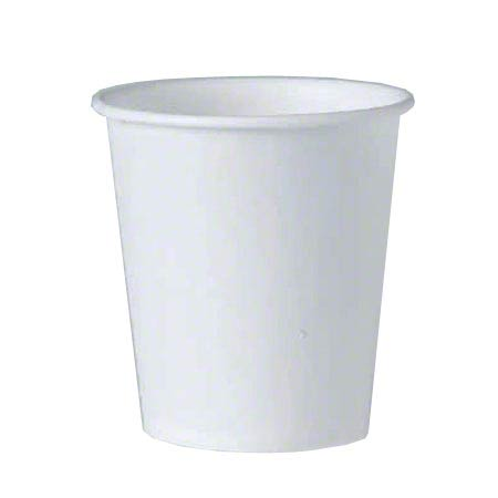 442050 SOLO 3 OZ TREATED PAPER FLAT BOTTOM WATER CUP WHITE 5000/CS