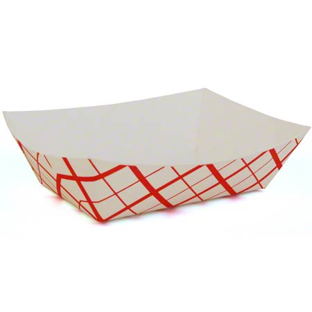 SCT300 FOOD TRAY 3LB RED PLAID 0425 500/CASE