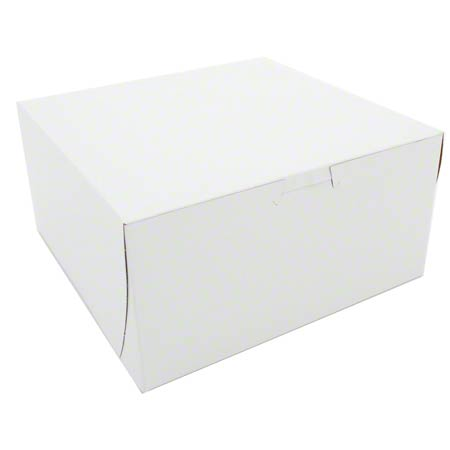 "CAKE BOX WHITE 8"" X 8"" X 3.5"" 250/BUNDLE"