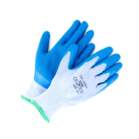 GLOVE BLUE RUBBER LATEX COATED COTTON GLOVE GREY KNIT(M)