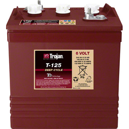 Trojan® T-125 Deep-Cycle 6V Battery w/T2 Technology™