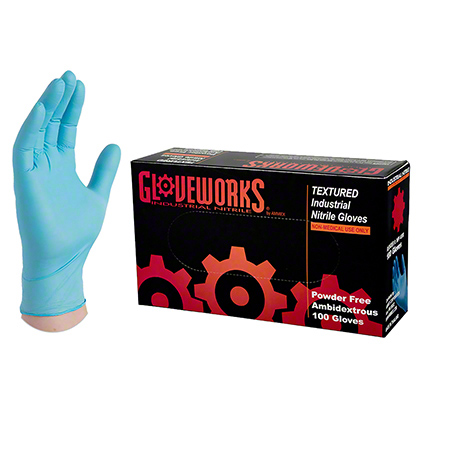 Ammex Gloveworks® Blue Nitrile Latex Free Glove - Large