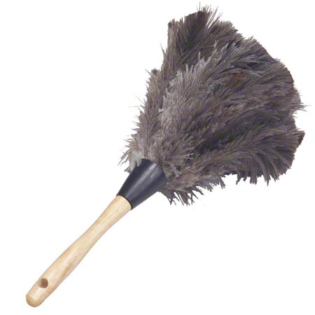 "Lambskin Feather Duster Premium Grey Ostrich - 13"" Overall"