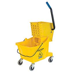 Carlisle Buckets w/Side Press Wringer - 26 Qt., Yellow