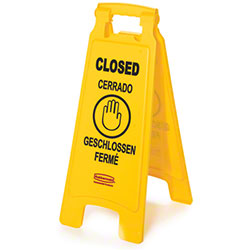 """Rubbermaid® """"Closed"""" 2-Sided Floor Safety Sign"""