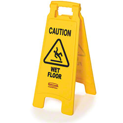 "Rubbermaid® ""Caution Wet Floor"" 2-Sided Safety Sign - 26"", Yellow"