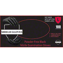 Wrap Tite Shield Gloves Black Barrier Nitrile Exam Glove -LG