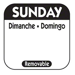 "NCCO 1"" x 1"" Trilingual Removable Label Roll - Sunday, Black"