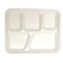 Pactiv 5-Compartment School Lunch Tray - White