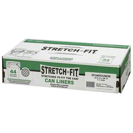 STRETCH FIT LINER 44GAL 100/CS 1.1 MIL