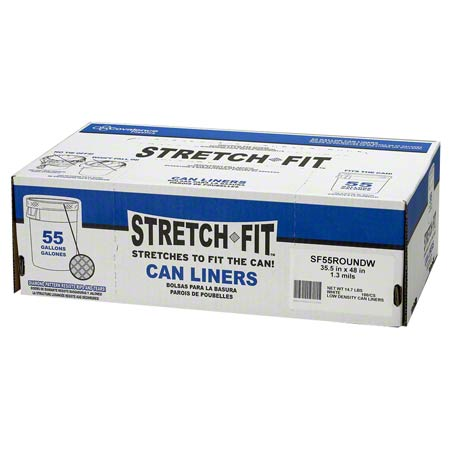 STRETCH FIT LINER 55GAL 100/CS 1.3 MIL
