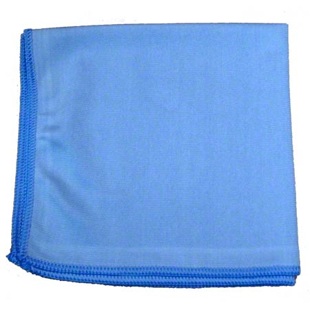 "16"" X 16"" BLUE GLASS CLEANING MICROFIBER CLOTH 24/CS"