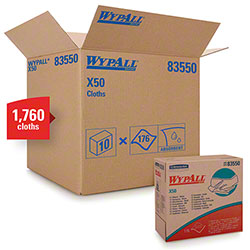 "WypAll® X50 Disposable Cloth - 9.1"" x 12.5"", White"