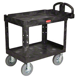 "Rubbermaid® 2 Shelf Cart w/Pneumatic - 45 1/4"" L, Black"