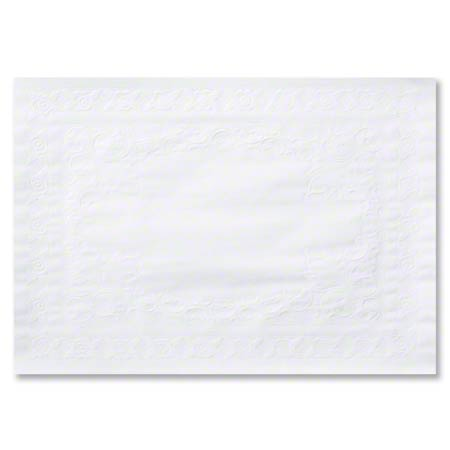 WHT PLACEMAT 10X14 EMB 1M/CS STRAIGHT EDGE,EMB